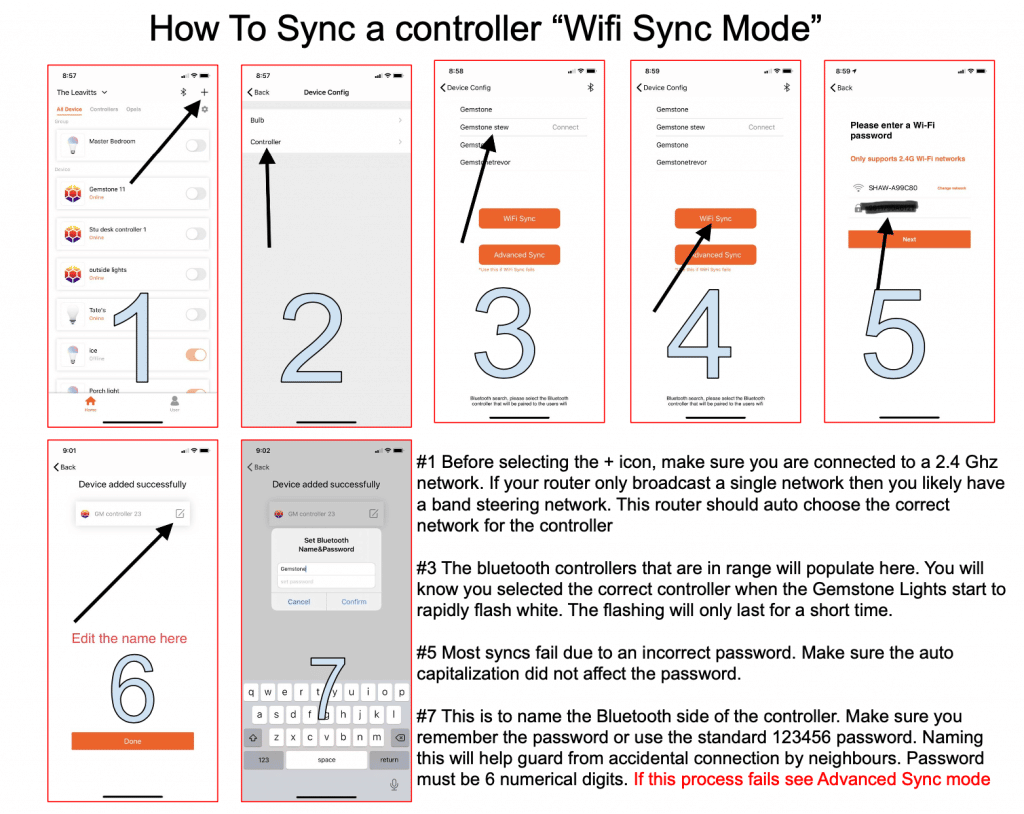 How to sync a controller wifi sync mode